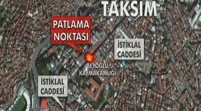 İstanbul Taksim'de Patlama